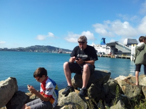 Father and son sitting on rocks by the ocean looking at hand held computers