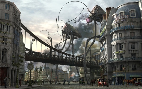 machines with long tentacle like legs invading a 1930s street. Tall buildings linked by an arched bridge.  Cars and people dwarfed by the buidlings, the buildings in turn dwarfed by the machines.