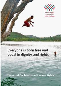 "poster from Human Rioghts Commision showing a child jumping in a river and with the words ""Everyone is born free and equal in dignity and rights"