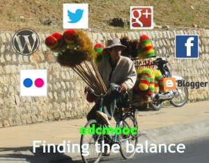 collage of photos to offer an image that shows balance.  A man on a bike balancing cleaning materials with social media icons around and the words edcmooc and Finding the Balance