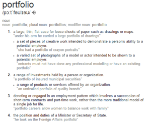 dictionary definition of the word portfolio