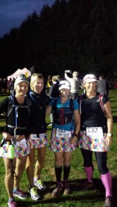 Four female walkers at the start of the Oxfam Trailwalk event.  It is dark as it is early in the morning.