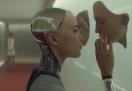 robot woman looking at mirror image