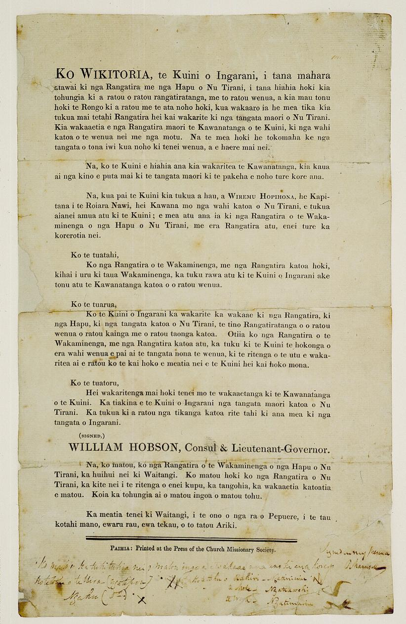 Image of an original version of  Tiriti o Waitangi -it is an old, yellowed document with maori text