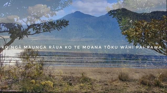 photo of mountain overlaid by a beach with tress framing the image and the caption Ko ngā maunga rāua ko te moana tōku wāhi pai rawa.
